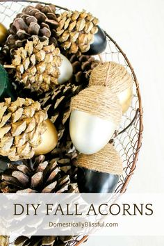 These DIY Fall Acorns are completely customizable & a great way to use materials you probably already have hidden away in storage!