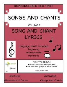 ESL & ELD Songs and Chants Volume I  SING IT LOUD! SING IT CLEAR!  This 51-page collection of ELD and ESL songs and black lines are perfect for every classroom with second language learners. Open every lesson with a song or chant from this rich collection of #ELD, #ESL based lyrics and watch your students' fluency grow.  $