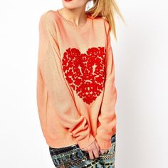 Asos beaded heart sweater No trades ASOS Sweaters