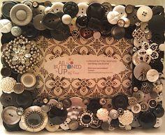 Black Grey & White Button Picture Frame for by allbuttonedupbytina