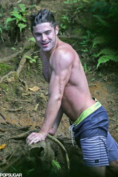 Shirtless Zac Efron on a Rope Swing | POPSUGAR Celebrity