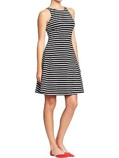 Women's Striped Jersey Fit & Flare Dresses | Old Navy | black and white striped sleeveless skater dress