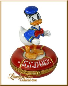 Donald Duck on Lifesaver Tube Disney Rare Limoges Box by Artoria.   Rare and Retired Disney Limoges Boxes at www.LimogesBoxCollector.com, Limoges Box Specialists, Limoges gifts, Walt Disney collectibles, gifts for her