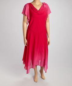 Robbie Bee Pink Floral Flutter-Sleeve Dress - Plus by Robbie Bee #zulily #zulilyfinds