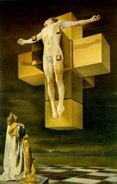 """Crucifixion (Corpus Hypercubus) oil on canvas, in x in — Salvador Dali. In his 1951 essay """"Mystical Manifesto"""", Dali introduced an art theory he called """"nuclear mysticism"""" that. Mathematics Art, Dali Paintings, Metropolitan Museum Of Art, Optical Illusion Paintings, Crucifixion, Christian Art, Dali Art, Illusion Paintings, Sacred Art"""