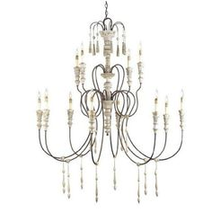 Sag Harbor Wrought Iron and Wood Chandelier (Available in 4 sizes)