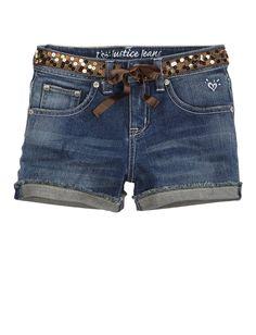 Girls Clothing | Shorties 2½ Inseam | Sequin Belt Denim Short | Shop Justice