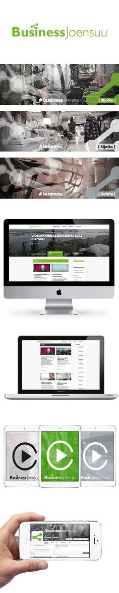 Asiakas: Business Joensuu. Avainsanat: ilme, logosuunnittelu,  värimaailma, graafiset elementit, typografia, style guide, graafinen tuotanto, verkkosivuston suunnittelu, responsive web, sosiaalinen media, Facebook-sivusto, videokuvaus, videoeditointi, videotuotanto, äänituotanto.