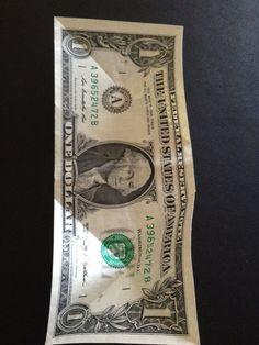 How to fold a $1 dollar bill - B+C Guides Fold Dollar Bill, Dollar Bill Origami, Money Origami, Money Bill, Three Fold, Legal Tender, Thing 1, One Dollar, Four Corners