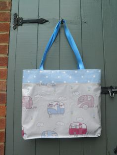 Caravans of love holiday bag, fully lined, with contrast base and top. From www.etsy.com/dagenaisdesign