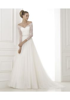 Luxurious Off Shoulder Chapel Train Tulle A Line Wedding Dress Apr0094, so far the only dress Cindy likes for herself.