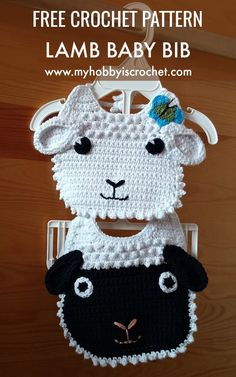 These adorable Little Lamb Baby Bibs would melt the heart of every new mom!    #crochet #freepattern #freecrochetpattern #crochetbabybib #myhobbyiscrochet