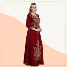 Looking for a one of a kind outfit for your next function? This Jellabiya Maxi comes in a beautiful maroon shade accentuated by hand-embroidered gold luxe beads. Pair it with jewellery of your choice and our free belt to create the perfect celebration outfit. Product no: 8574 Modest Outfits, Summer Outfits, Kaftan Abaya, Moroccan Caftan, Celebrities, Lady, Womens Fashion, Beautiful, Collection