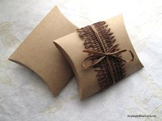 """Ten square kraft pillow boxes - Plain handmade boxes for jewelry, gifts, wedding favors (3.5x3.5x.8"""")  #giftwrap #handmade #packaging"""
