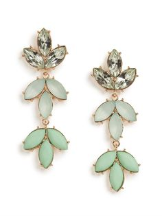 Sparkle plenty in these feminine stunners. Theyre crafted from a beautiful cascade of mint-colored gems, which come intricately set into a lovely leaf-like pattern.