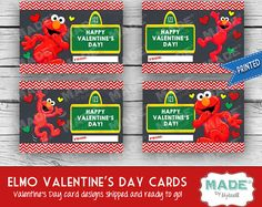 Printed ELMO VALENTINE'S Day Cards, Kids Valentines Day Cards, Valentines Cards, Kids Valentines, Printed Valentines, Holidays, Party
