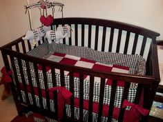 Houndstooth, crimson and white nursery. For the Bama fan. Roll Tide!