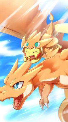 Pokemon Pikachu and charizard Pokemon Go, Fotos Do Pokemon, Pikachu Art, Cute Pikachu, Pokemon Fan Art, Pikachu Drawing, Pokemon Fusion, Pokemon Cards, Pokemon Mignon