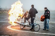 Is this the world's most dangerous bicycle? Inventor powers bike with JET ENGINE to reach speeds of 50mph. Certainly no bike for riding pillion!