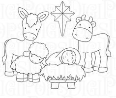 Set presepe digitale Clip Art e colorazione pagine personali Christmas Colors, Christmas Art, Christmas Drawing, Christmas Embroidery, White Art, Clipart, Embroidery Patterns, Etsy, Paper Crafts