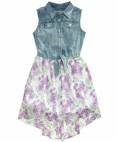 GUESS Girls' Denim-to-Print High-Low Dress
