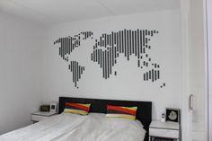 decoração com fita isolante mapa mundi