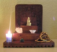 Altar from The Sacred Feminine Meditations Altar, Tarot, Home Altar, Sacred Feminine, Meditation Space, Spiritual Gifts, Book Of Shadows, Wiccan, Spirituality