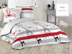 Biele posteľné návliečky z bavlny s motívom Paríža