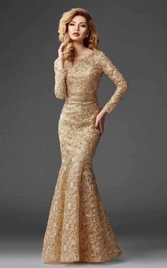 Fashion Evening Gowns Formal Dresses for Girl Classy Formal Dresses Gold Evening Gowns, Evening Gowns With Sleeves, Glamorous Evening Gowns, Mermaid Evening Gown, Prom Dresses With Sleeves, Girls Formal Dresses, Pageant Dresses, Party Dresses, The Dress