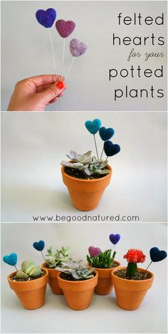 Good Natured: Tutorial: Felted Hearts for your Potted Plants #diy #needlefelting