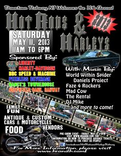 Hot Rods and Harleys 2013 - Gets bigger every year!  Let's take over downtown Rahway!!