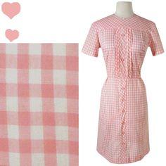 Dress Vintage 50s 60s PINK GINGHAM Rockabilly Pinup DRESS L Shirtdress Mad Men Sheath
