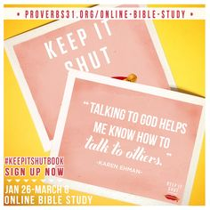 """""""When we spend time with God and in His Word, we have a better chance of speaking truth and following His directions. Perhaps if we spent more time and energy on our prayer life, we would use our words more wisely.""""- @Karen_ Ehman. Join @Proverbs31 Online Bible Studies January 26 – March 6 for our FREE study, Keep It Shut!  Sign up here: http://proverbs31.org/online-bible-studies/"""