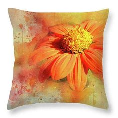 Abstract Orange Flower Throw Pillow, Home Decor, Decorative Cushion, Throw Pillow Covers, Decorative Pillow Covers, Gift for Her