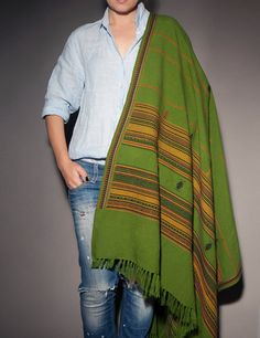 Gree wool scarf wrap with ethnic ornament wide long by CurryMoon