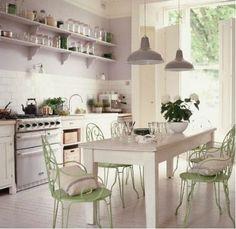 Lilac white and Apple green   Decoración de cocinas