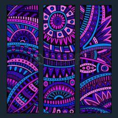 Illustration of Abstract decorative vector ethnic pattern cards set vector art, clipart and stock vectors. Mandala Design, Mandala Art, Tatoo Manga, Easy Canvas Art, Africa Art, Ethnic Patterns, Banner Printing, Card Patterns, Dot Painting