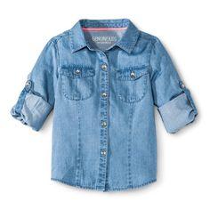 Genuine Kids™ Infant Toddler Girls' Chambray Buttondown - Blue 3T : Target
