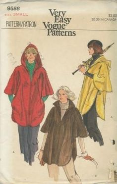 An unused original ca. 1970's Vogue pattern 9588.  Misses' Poncho. Unlined, shaped poncho, mid-thigh length, has collar or self-lined hood, front neckline slit, below elbow length arm openings, buttoned tab closings at sides and inside patch pockets. Topstitching. Purchased sweater.
