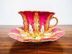 Antique Pink & Gold Gilt Meissen Tea Cup and Saucer w/ Raised Acanthus Leaves, Circa 1920s - 1930s. Beautiful early 20th century teacup & saucer. by Makia55