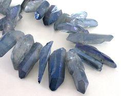 Blue Gray Crystal Spikes Mystic Druzy Quartz  Spike by BijiBijoux