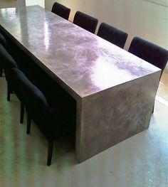mesa comedor microcemento brillo