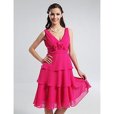 A-line V-neck Knee-length Tiered Chiffon Bridesmaid Dress – US$ 99.99