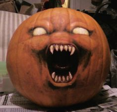 """The Possessed Pumpkin; Days of October"""". Scary Pumpkin Carving, Creepy Pumpkin, Amazing Pumpkin Carving, Pumpkin Art, Evil Pumpkin, Pumpkin Painting, Pumpkin Ideas, Pumpkin Carvings, Disney Halloween"""