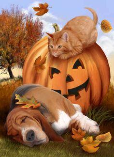 """Ambushed!""  by Thomas Wood ~ autumn ~ carved pumpkin ~ cat ~ basset hound"