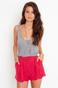 Scalloped Tap Shorts - Red
