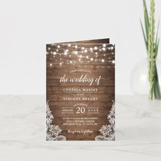 Rustic Wood Twinkle String Lights Lace Wedding Invitation   Zazzle.com Lace Wedding Invitations, Wedding Invitation Templates, Party Invitations, Twinkle Lights, String Lights, Twinkle Twinkle, Outdoor Wedding Favors, Fall Wedding, Rustic Wedding
