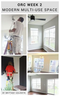 It's week 2 of the One Room Challenge, and I'm tackling some painting and a lighting upgrade! See how I transformed my walls using Sherwin-Williams paint in Repose Gray and Tricorn black. Plus a super sleek matte black ceiling fan. We're making some progress!