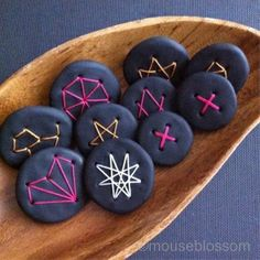 Geometric brooch matte black polymer clay neon pink thread by Asmodel