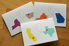 Personalized States and Love card 1 card by deepdownhappy on Etsy, $3.50